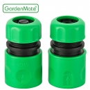 "GardenMate® 13mm (1/2"") PLASTIC Universal Set of 2 Hose Connectors with/without Water Stop"