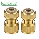 "GardenMate® 13mm (1/2"") BRASS Set of 2 Hose Connectors with/without Water Stop"
